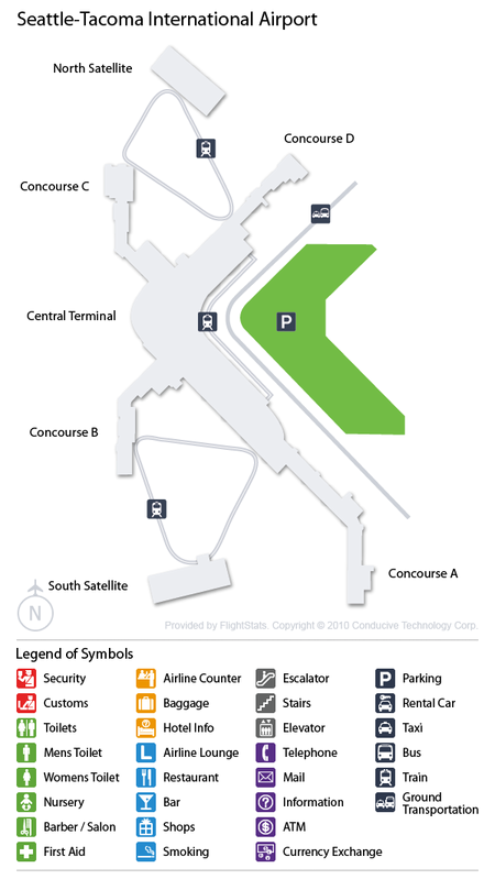 Seattle Map Airport.Sea Airport Car Rentals Airportrentalcars Com